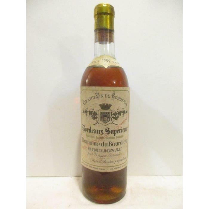 bordeaux supérieur domaine du bourdieu soulignac crème de tête liquoreux 1959 - bordeaux