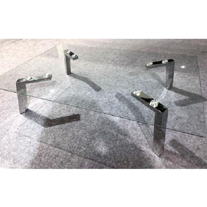 Table Basse Moderne et Design Verre et Inox AMBRE