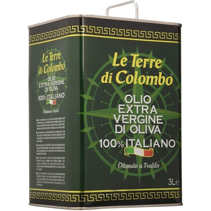 Huile d'olive extra-vierge 100 % italienne, Le Terre di Colombo bidon métallique de 3 l