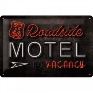 Plaque en métal 20 X 30 cm Route 66 : Motel