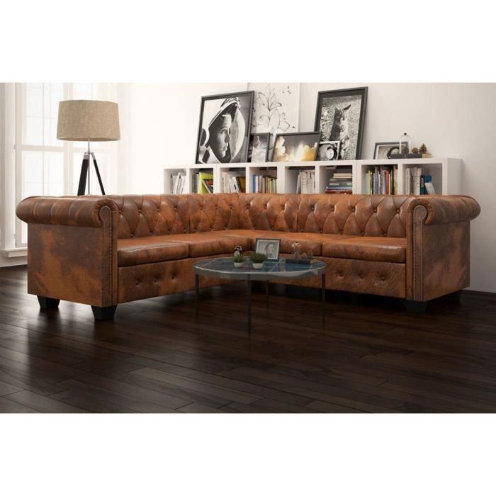 Canapé d'angle 5 places Marron Cuir Chesterfield
