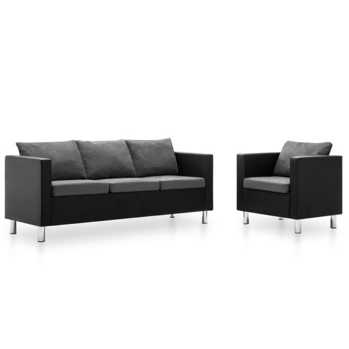 Ensemble de canapé fauteuil 2 pcs Similicuir Noir et gris clair
