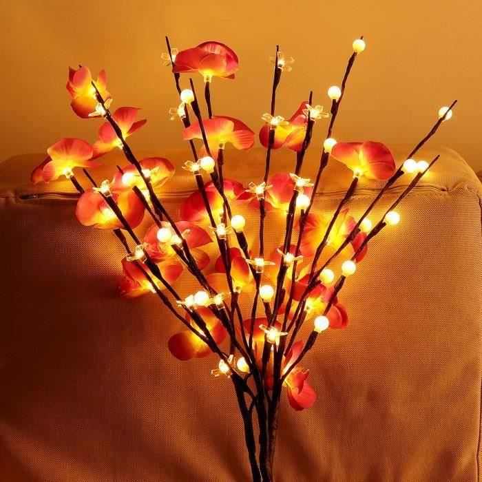 LED Branches Lumières Arbre Lumineuse Déco Pour Bonsaï Vase Papillon Orchidée Rouge Ve07005