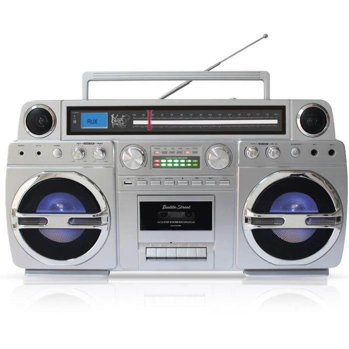Black Panther City Battle Street - Ghetto-Blaster portable Bluetooth, lecteur CD, cassette, USB, Tuner FM, réveil, encodage MP3 (