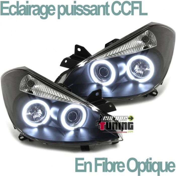 PHARES NOIRS ANNEAUX CCFL FEUX LED ANGEL EYES RENAULT CLIO III 2005-2009 (03364)