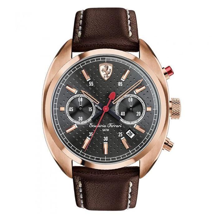 FERRARI Bracelet en cuir ton or Bracelet en acier Quartz cadran noir Montre chronographe 0830210 M5VFU