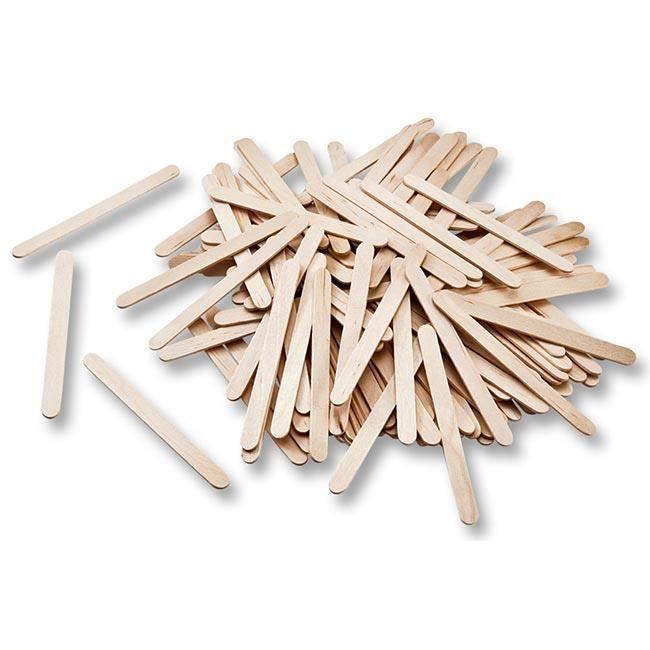 Bâtonnets en bois nature 500 pièces de 114 x 10 x 2mm