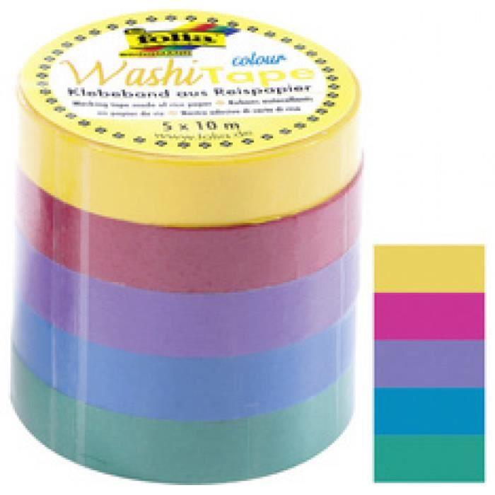 folia Ruban adh'sif d'coratif Washi-Tape UNI BASIC, kit de 5 0,000000 Noir