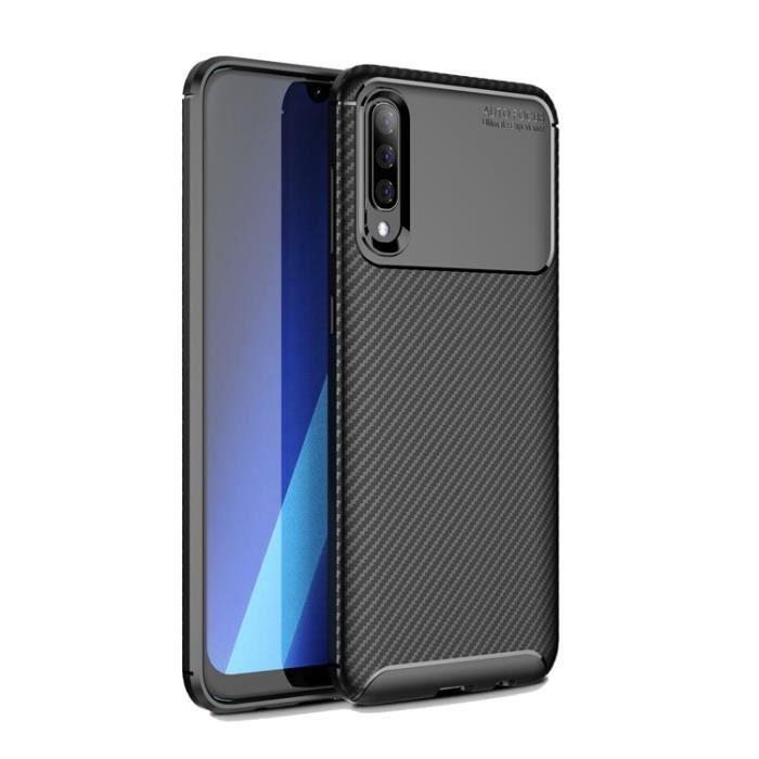 Housse Samsung Galaxy A70,Noir Fibres Carbone Resilient Anti-Empreintes Digitales Ultra Souple Étui