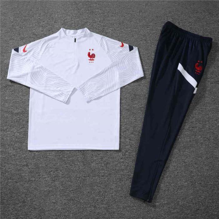 Nouveau Survêtement France Maillot de Football(Pantalon à Manches+Longues)Pas Cher Kit 2020-2021 Survêtement Training pour Homme