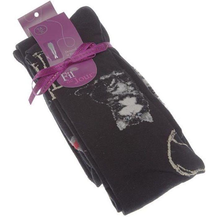 Fil de Jour - Collant fin - 1 paire - Fantaisie - Semi opaque - Coton - Chat - Noir - LILI TIGHTS fil de joie Noir - Femme