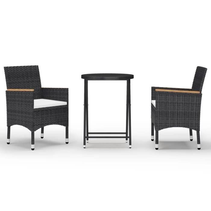 8919Mobilier BEST® Ensemble de bistro 3 pcs - 2 personnes - Table + 2 chaises,Salon de jardin,Mobilier Résine tressée et verre tremp