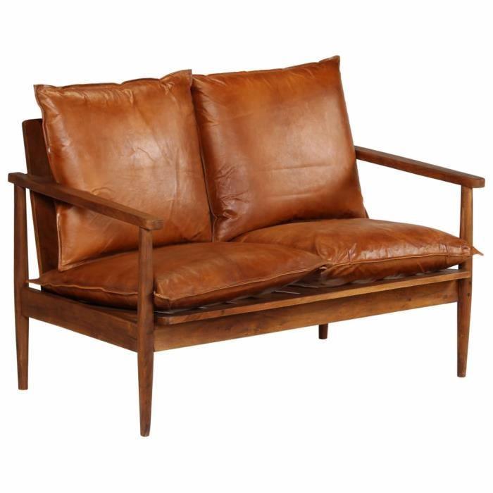 5017[TOP SELLER]Canapé à 2 places,Sofa Vintage Design,Canapé d'angle Sacandinave Salon Cuir véritable avec bois d'acacia Marron Tail
