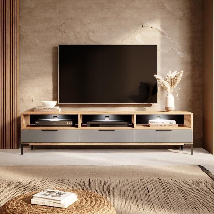 Meuble tv - RIKKE - 160 cm - chêne wotan / gris brillant - avec LED
