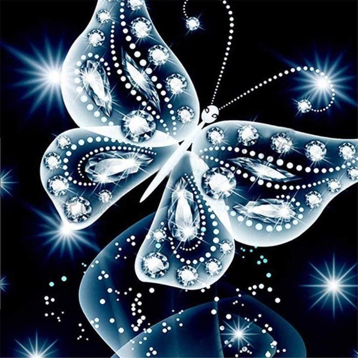 Kit de peinture en diamant 5D,broderie diamant kit,Point de croix diamant Broderie diamantPapillon bleu 30X30cm@Z4613