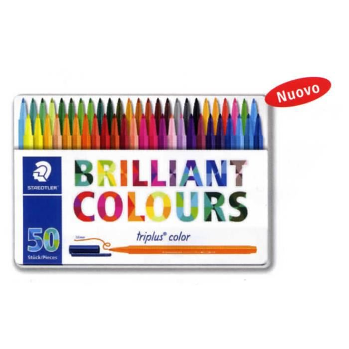 Staedtler Triplus Color, Astuccio In Metallo Brilliant Colours Design Con 50 Penne A Punta Sintetica