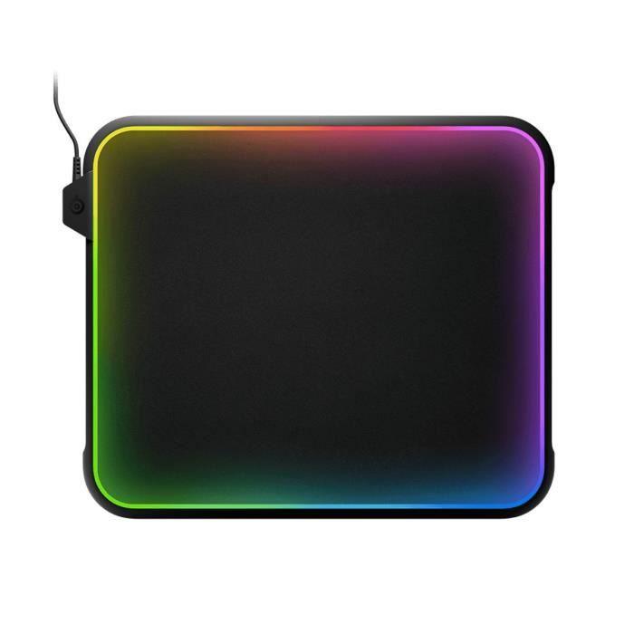 SteelSeries Tapis de souris Gamer QcK Prism - Rétroéclairé RGB - Antidérapant - Noir