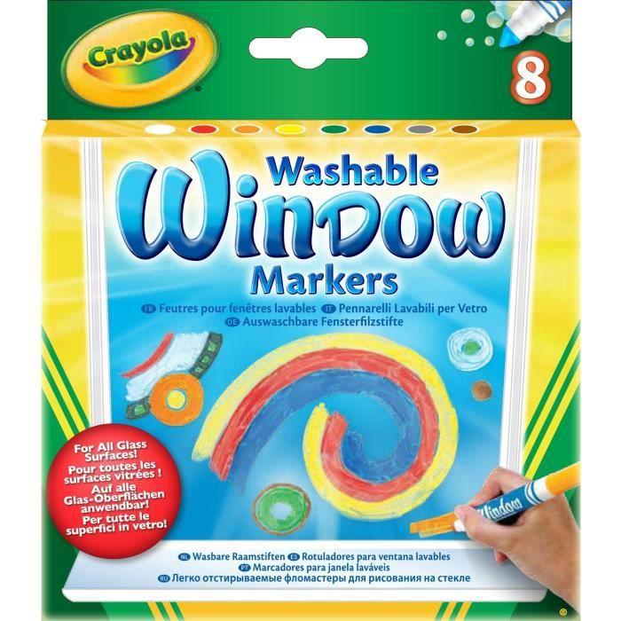 Crayola - 8 Feutres lavables pour fenêtre -