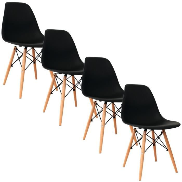 lot de 4 chaises design noir nina achat vente chaise. Black Bedroom Furniture Sets. Home Design Ideas