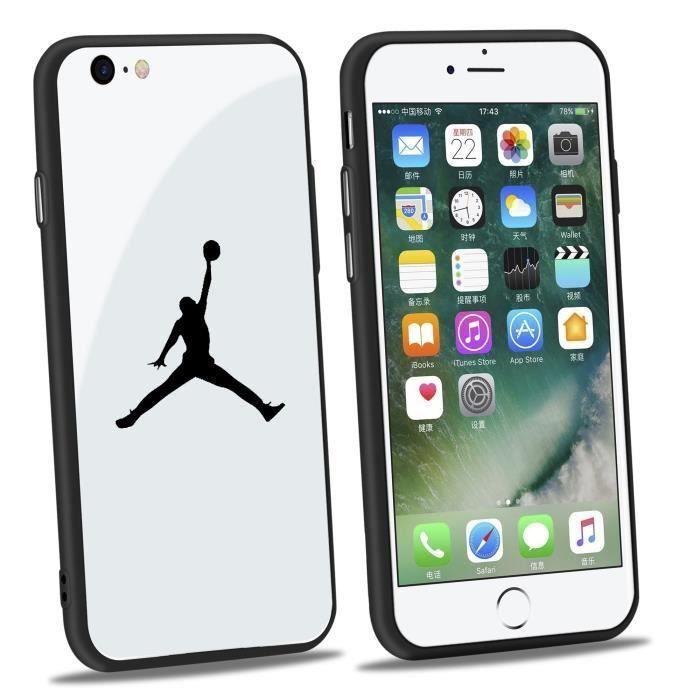 jordan coque iphone 7 7s verre coque blanc