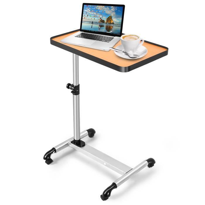 Table d/'ordinateur Portable Pliable en M/étal avec Ventilateur de Rrfroidissement Plateau Support avec Tapis de Souris Lapdesks Multifonctionnelles 60cm x 48cm x 72cm Table de Lit Piable R/églable