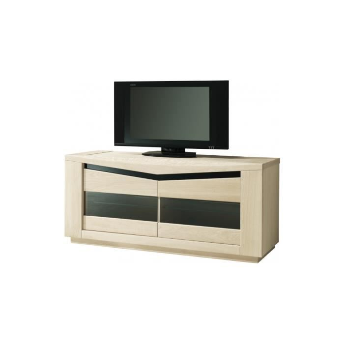 meuble tv ch ne blanchi 2 portes vitr es 2 tag res verre d cor verre noir achat vente. Black Bedroom Furniture Sets. Home Design Ideas