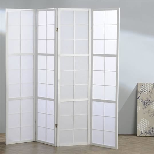 paravent japonais blanc 4 pans achat vente paravent bois carton cdiscount. Black Bedroom Furniture Sets. Home Design Ideas