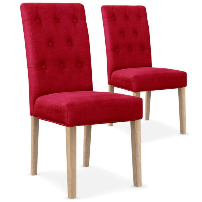 lot de 2 chaises gaya capitonn es en tissu rouge achat vente chaise rouge cdiscount. Black Bedroom Furniture Sets. Home Design Ideas