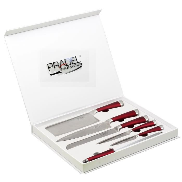 coffret 5 couteaux pradel evolution rouges 1 achat vente couteau de cuisine coffret 5. Black Bedroom Furniture Sets. Home Design Ideas