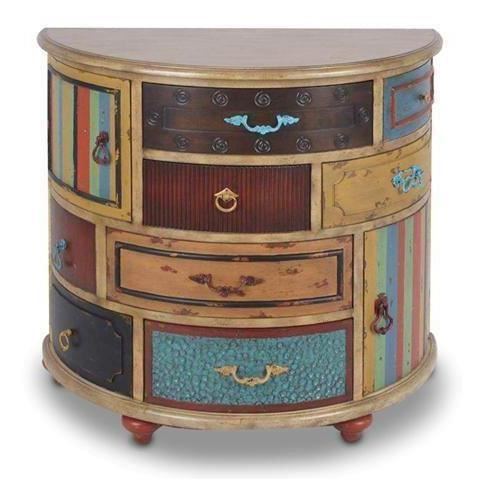 commode ovale en bois avec tiroirs multicolores 79 cm commode ovale en bois avec tiroirs. Black Bedroom Furniture Sets. Home Design Ideas
