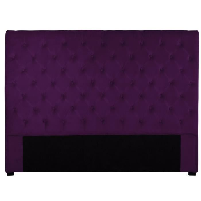 t te de lit capitonn e 160 cm velours aubergine am achat vente t te de lit t te de lit. Black Bedroom Furniture Sets. Home Design Ideas