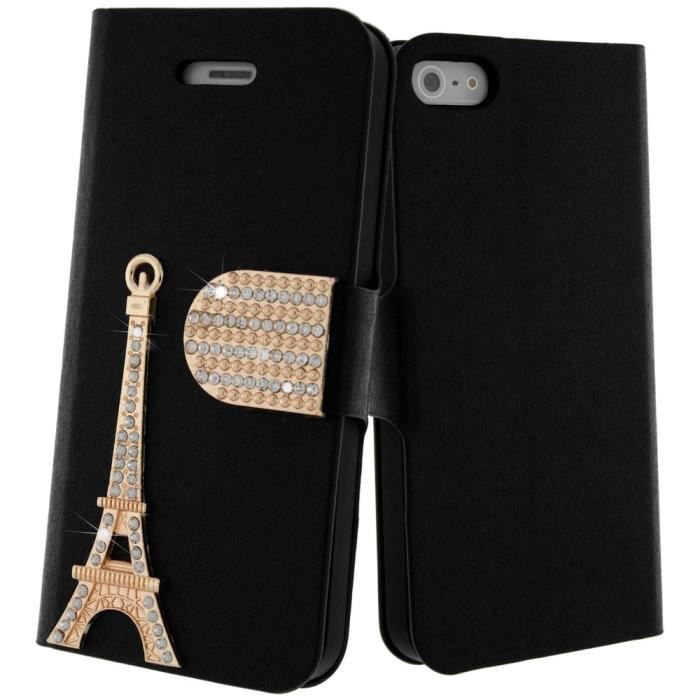 Housse strass tour eiffel noir apple iphone 5 5s achat for Housse tour eiffel