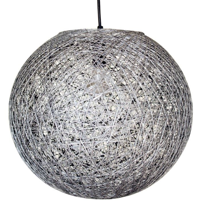suspension boule sisal gris achat vente suspension. Black Bedroom Furniture Sets. Home Design Ideas