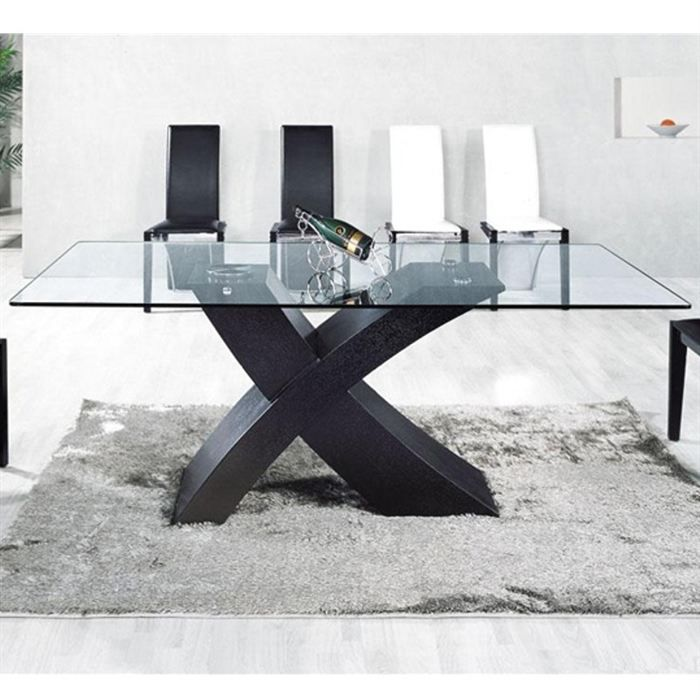table en verre mix pied noir 150 x 90cm achat vente. Black Bedroom Furniture Sets. Home Design Ideas
