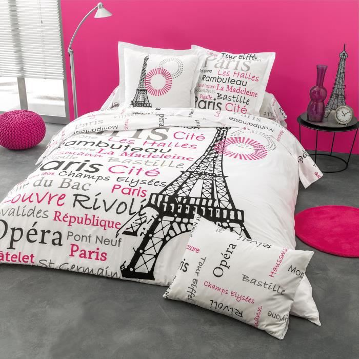 cotonflor french housse de couette rose 140 x 200 cm achat vente housse de couette cdiscount. Black Bedroom Furniture Sets. Home Design Ideas