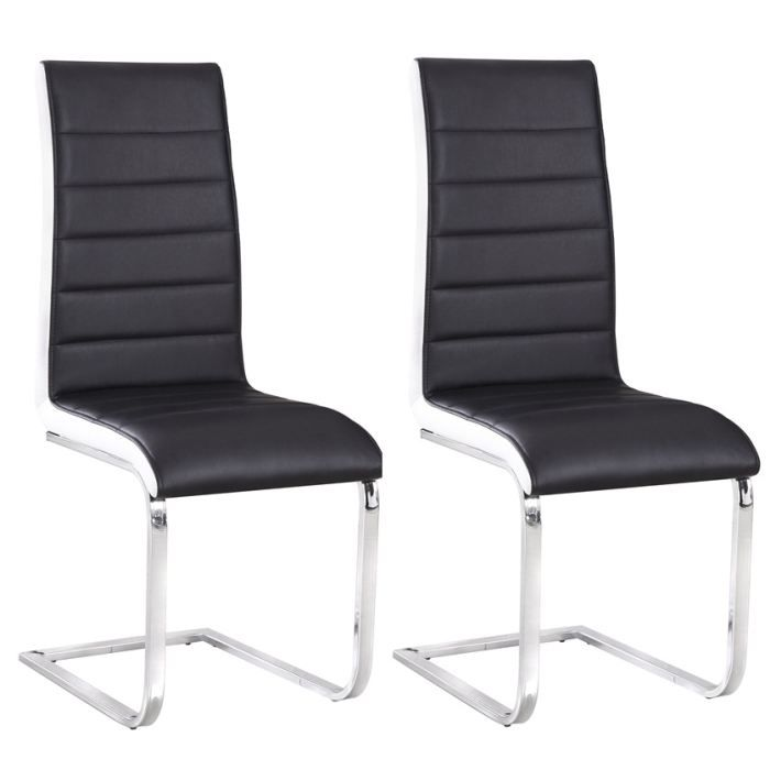 2 chaises bicolores noir et blanc achat vente chaise noir cdiscount. Black Bedroom Furniture Sets. Home Design Ideas