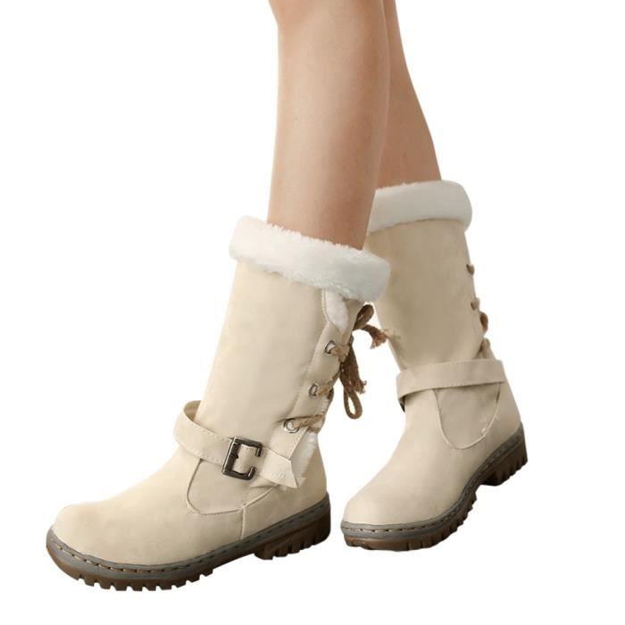 Libaib Classiques Bottes de neige Femme Mode Talons Chaussures plates Bottes d'hiver chaudes de fourrure@Beige