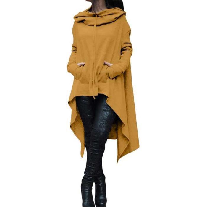 Sweatshirt à Capuche Asymmetric pour Femme Longs Hauts Pull Over Hoodie Manches Longue Grande Taille Jaune