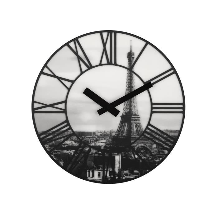 horloge murale 3d paris tour eiffel achat vente horloge cdiscount. Black Bedroom Furniture Sets. Home Design Ideas