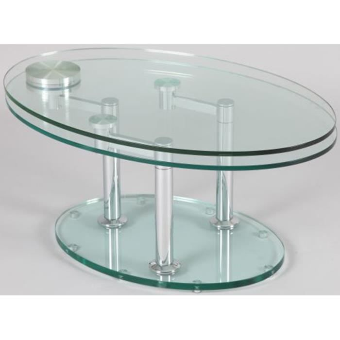table basse verre ovale articul e achat vente table. Black Bedroom Furniture Sets. Home Design Ideas