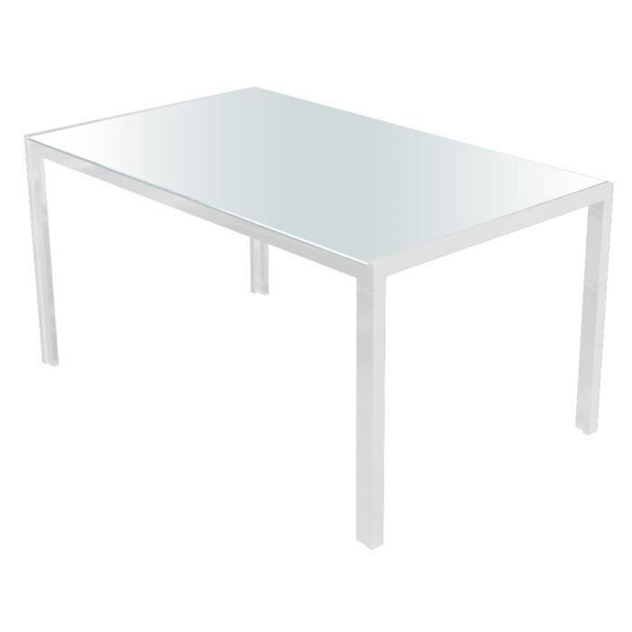 Table manger en verre tremp coloris blanc 150 x 90 x 75 cm achat vent - Table and co vente en ligne ...