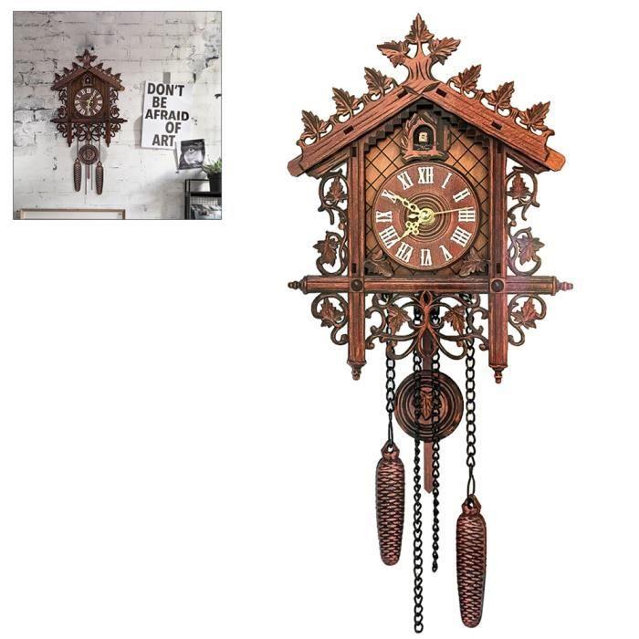 Horloge Murale De Coucou En Bois Vintage Pendaison Handicraft Clock Pour La Decoration De Restaurant A La Maison Noir Achat Vente Horloge Pendule Cdiscount