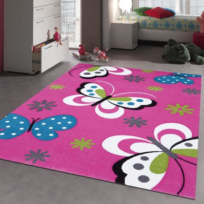 tapis chambre enfant kids papillons rose 120x170 par unamourdetapis tapis pour enfant achat. Black Bedroom Furniture Sets. Home Design Ideas