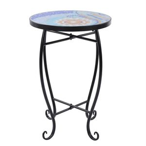 TABLE D'APPOINT Chaise ronde incrustée de verre coloré en fer forg