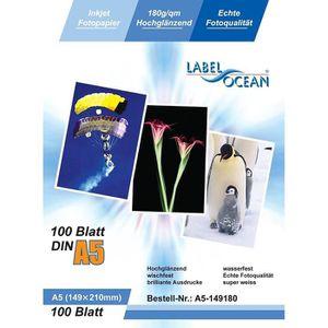 PAPIER PHOTO LabelOcean - 100 Feuilles Papier Photo A5 148x210m