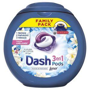 LESSIVE Dash Lenor 3en1 Pods Fleurs De Lotus et Lys Pack F