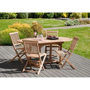 TABLE DE JARDIN  Table ovale extensible 120-180x90 cm JARDITECK