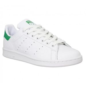 Baskets ADIDAS Stan Smith cuir grave-40 2/3-Blanc Vert Blanc ...