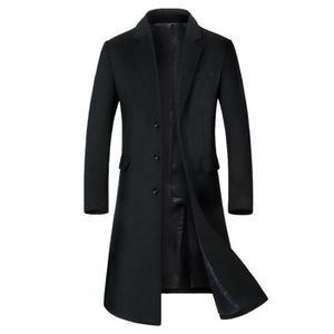 cad48abcb1b7 FUNMOON - Jtong Caban Homme Hiver Manteau Long Trench-Coat Chaud Veste Slim  Fit Casual