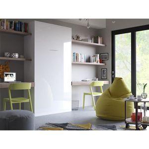 LIT ESCAMOTABLE SMARTBett Basic 90x200 verticale blanc brillant av